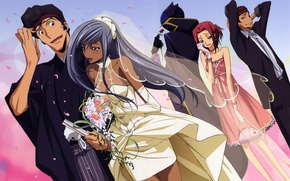 Picture bouquet, neckline, gloves, blush, the bride, veil, art, wedding, code geass, the groom, kallen stadtfeld, …