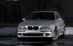 Picture BMW, Carbon, Snow, E39, Silver, Asphalt
