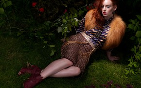 Picture flowers, pose, style, model, fur, red, redhead, Haley O'Connor