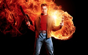 Wallpaper yuusha, cigar, fire, the best, shield, shotgun, Arnold Schwarzenegger, the best of the best, man, ...