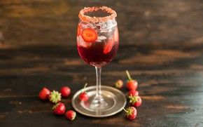 Wallpaper berries, drink, strawberries, ice, glass
