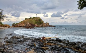 Picture Sea, Lighthouse, Rock