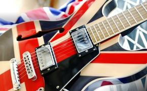 Wallpaper electric guitar, Union Jack, strings, macro, flag