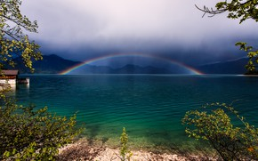 Picture water, trees, rainbow