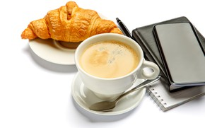 Picture coffee, handle, spoon, Cup, white background, Notepad, drink, notebook, saucer, croissant, cell