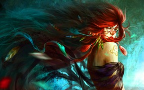 Picture look, girl, feathers, red, shoulders, long hair, tattoo on shoulder
