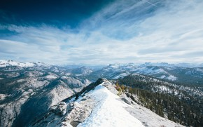 Picture winter, forest, the sky, clouds, snow, mountains, CA, California, Yosemite National Park, Yosemite national Park