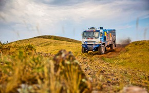 Picture The sky, Nature, Grass, Sport, Speed, Stones, Truck, Race, Master, Dirt, Squirt, Beauty, Russia, Kamaz, …