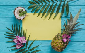 Picture leaves, flowers, coconut, pineapple, flowers, leaves, pineapple, coconut