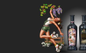 Picture girl, wine, bottle
