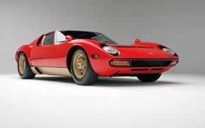 Picture Red, Auto, Lamborghini, Retro, Machine, 1971, Lights, Car, Supercar, Miura, Supercar, The front, Lamborghini Miura, …