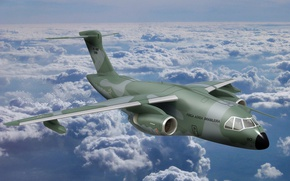Wallpaper sky, cloud, Brazil, FAB, kumo, Embraer, KC-390, developed and manufactured by Embraer Defesa e Seg, ...