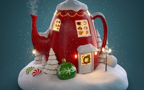 Wallpaper winter, merry chrismas, holiday celebration, decoration, snow, kettle