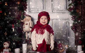 Picture holiday, toys, new year, Christmas, candles, the door, girl, tree, child