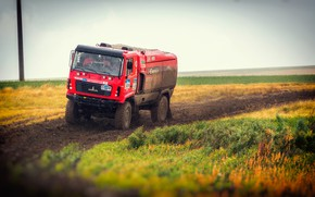 Picture Red, Truck, Race, Dirt, Rally, Rally, The front, The roads, MAZ, 309, Silk road, Silk …