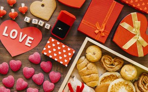 Picture love, box, heart, Breakfast, cookies, ring, gifts, Valentine's Day