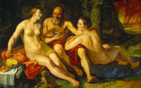 Picture oil, picture, mythology, Hendrik Goltzius, Lot and his Daughters.