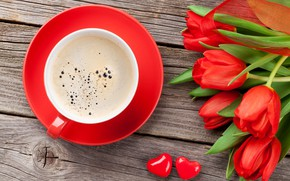Wallpaper flowers, red, cup, Cup, bouquet, Valentine's Day, gift, love, coffee, tulips, coffee, tulips, romantic, gift, ...