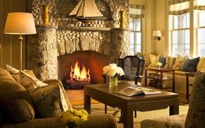 Picture room, Villa, interior, fireplace, nastina