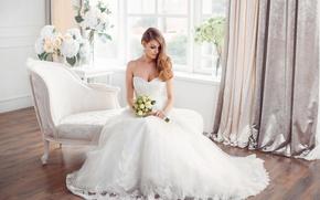 Picture girl, flowers, holiday, bouquet, the bride, dress, style, wedding, decor, sofa, wedding, elegant, Buyanskyy Dmytro