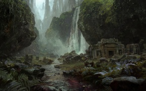 Picture grass, fog, stream, stones, waterfall, moss, ruins, Path of Exile