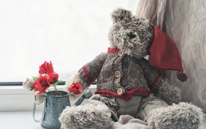 Picture flowers, mood, toy, roses, bear, window, lake, bear, blouse, cap, Teddy bear