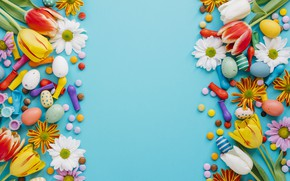 Picture holiday, spring, colorful, Easter, blue, flowers, Easter, candies