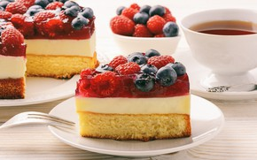 Picture berries, tea, cake, cream, sweet, jelly, biscuit