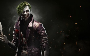 Picture fire, flame, blood, rose, game, flower, smile, man, Joker, assassin, evil, knife, DC Comics, crazy, …