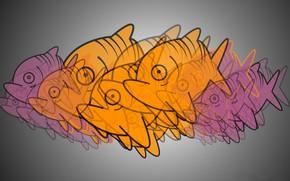 Picture paint, fish, pack, piranha