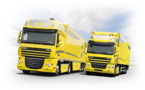 Picture road, movement, yellow, DAF, DAF, Space Cab, Super Space Cab, Euro5, 4x2, tractors, semi, DAF …