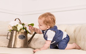 Picture flowers, sofa, child, boy, lake, considering