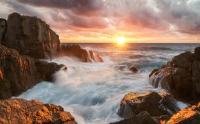 Wallpaper sea, wave, the sky, the sun, stones, rocks, excerpt