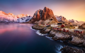 Picture mountains, rocks, Norway, town, settlement