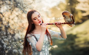 Picture girl, mood, owl, bird, bokeh, by Olga Boyko, Alexander Gir