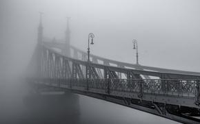 Wallpaper bridge, the city, fog, haze, black and white photo