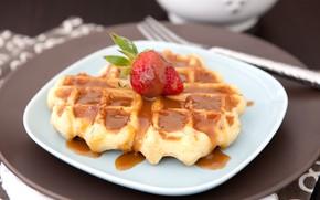 Picture strawberry, dessert, waffles, caramel