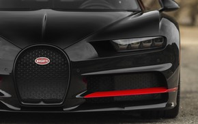 Picture Bugatti, Black, RED, Face, V16, VAG, Sight, Chiron