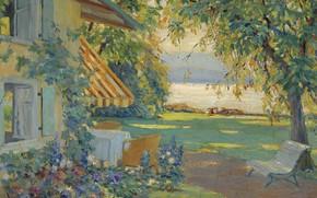 Wallpaper picture, Artistic Garden on Lake Starnberg, Edward Cucuel, Edward Cucuel