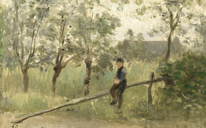 Picture oil, picture, Joseph Israels, Peasant Boy at the Barrier