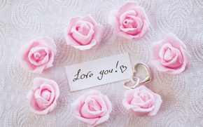 Wallpaper hearts, I love you, pink, romantic, hearts, gift, roses, pink roses