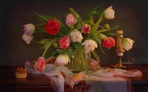 Wallpaper tulips, shawl, cake, candle, vase, flowers