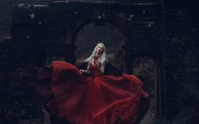 Picture girl, the ruins, red dress, Princess, Maria Amanda, Bird Man, Snow White's Reign