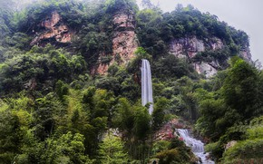 Picture trees, mountains, nature, waterfall, China