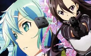 Picture anime, art, Sword art online, Sword Art Online, Kirito, Sinon