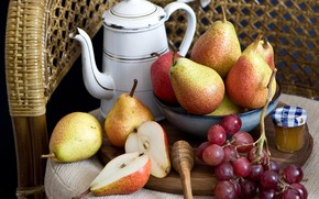 Picture honey, grapes, fruit, pear
