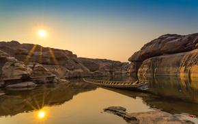 Picture river, stones, rocks, dawn, boat, Thailand, river, nature, stone, park, beautiful, boat, grand canyon, Sampanbok