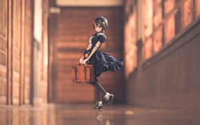 Picture doll, dress, suitcase