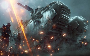 Picture Lights, Smoke, Fire, Tank, Military, Electronic Arts, DLC, DICE, Equipment, Weapons, Frostbite, Battlefield 1, Battlefield …