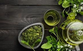Picture green, green, tea, drink, cup, teapot, tea